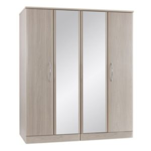 View B&Q Lima Elm Effect Mirrored 4 Door Wardrobe details
