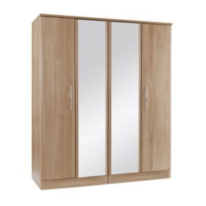 View B&Q Lima Oak Effect Mirrored 4 Door Wardrobe details