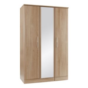 View B&Q Lima Oak Effect Mirrored 3 Door Wardrobe details