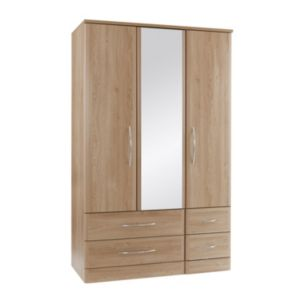 View B&Q Lima Oak Effect 3 Door 4 Drawer Wardrobe details