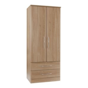 View B&Q Lima Oak Effect 2 Door Wardrobe details