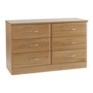 View B&Q Oak Effect 6 Drawer Chest (W)1204mm details