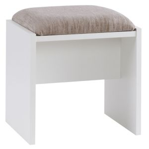 View B&Q Modern White Elm Effect Stool details