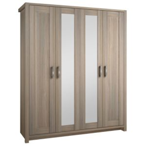 View B&Q Elise Oak Effect Mirrored 4 Door Wardrobe details