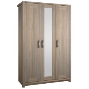 View B&Q Elise Oak Effect Mirrored 3 Door Wardrobe details
