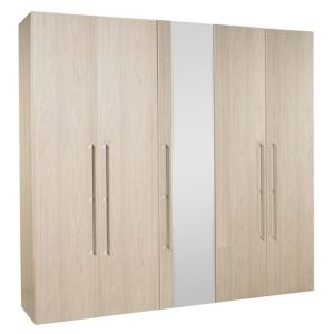 View B&Q Urbino Elm Effect Mirrored 5 Door Wardrobe details