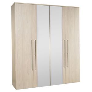 View B&Q Urbino Elm Effect Mirrored 4 Door Wardrobe details