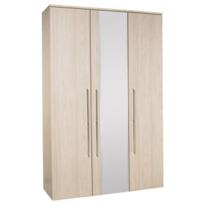 View B&Q Urbino Elm Effect Mirrored 3 Door Wardrobe details