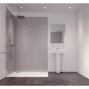 Splashwall Metallic Grey Single Shower Panel (L)2420mm (W)585mm (T)11mm