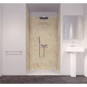 Splashwall Tuscan Cream 3 Sided Shower Panelling Kit (L)2420mm (W)1200mm (T)11mm