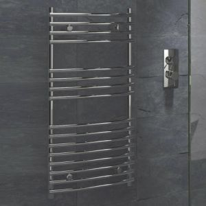View Kudox Leamington Curved Ladder Contemporary Towel Warmer Chrome (H)900 (W)450mm details