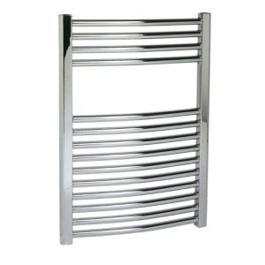 View Kudox Contemporary Mains Curved Towel Radiator Chrome Effect (H)700 (W)500mm details