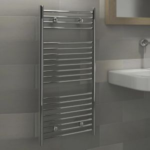 View Kudox Flat Ladder Contemporary Towel Warmer Chrome (H)974 (W)450mm details