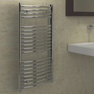 View Kudox Curved Ladder Towel Warmer Chrome (H)974 (W)450mm details
