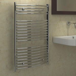 View Kudox Curved Ladder Towel Warmer Chrome (H)974 (W)600mm details