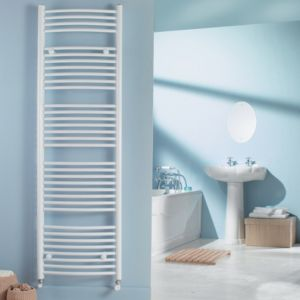 View Kudox Curved Ladder Towel Warmer White (H)1674 (W)450 mm details