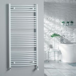 View Kudox Curved Ladder Towel Warmer White (H)1324 (W)600 mm details
