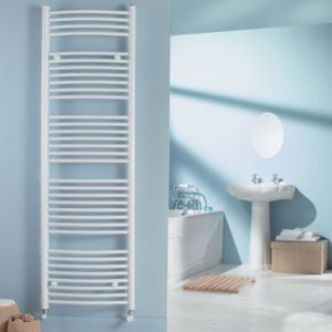 View Kudox Curved Ladder Towel Warmer White (H)1674 (W)600 mm details