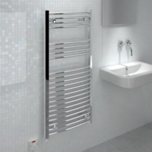 View Kudox Curved Electric Towel Warmer Chrome (H)1100 (W)500mm details