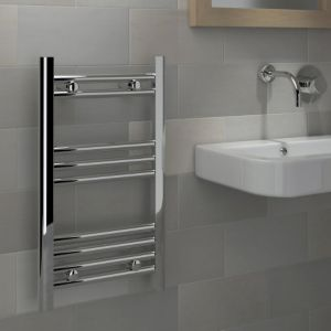 View Kudox Mini Flat Ladder Towel Warmer Chrome (H)700 (W)400mm details