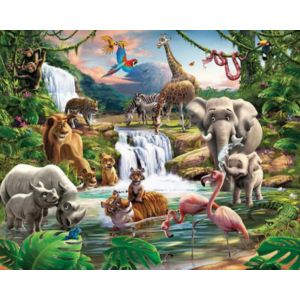 Image of 12 Panel Jungle Adventure Wall Mural