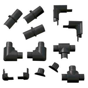 View D-Line ABS Plastic Black Trunking Accessories, Pack of 13 Pieces details