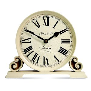 View Worcester Antique Effect Gloss Cream Round Mantel Clock details