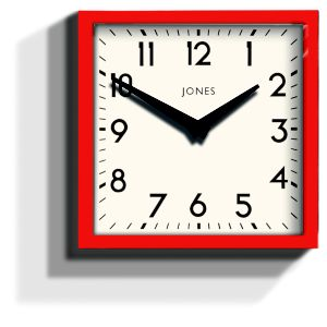 View Box Matt Red Square Wall Clock details