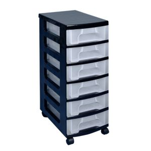 View Really Useful Black & Clear Plastic 6 Drawer Tower Unit details