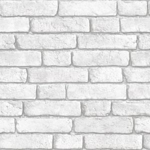 View Brick Wall White Vinyl Wallpaper details