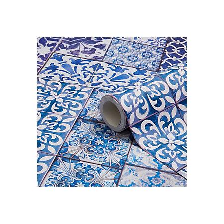 muriva blue moroccan tiles wallpaper clearance diy at b q. Black Bedroom Furniture Sets. Home Design Ideas