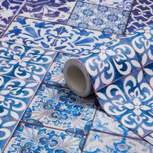 muriva blue moroccan tiles wallpaper clearance diy at bampq