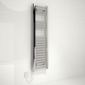 Image of Kudox 150W Silver Towel warmer (H)1100mm (W)300mm