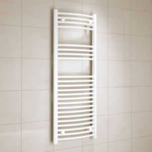 View Kudox Curved Ladder Towel Warmer White (H)1200 (W)450 mm details