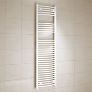 View Kudox Curved Ladder Towel Warmer White (H)1600 (W)450 mm details