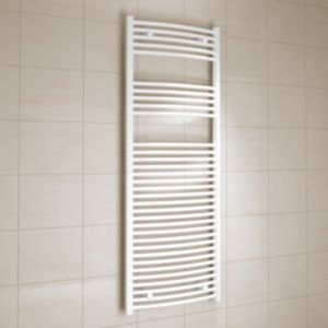 View Kudox Curved Ladder Towel Warmer White (H)1600 (W)600 mm details