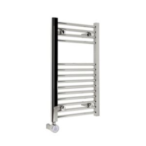 Image of Kudox 200W Electric Silver Towel warmer (H)700mm (W)400mm