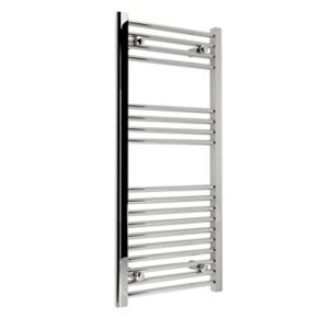Image of Kudox 250W Electric Silver Towel warmer (H)1000mm (W)450mm