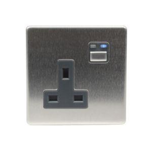Image of LightwaveRF 13A Stainless Steel Single Socket
