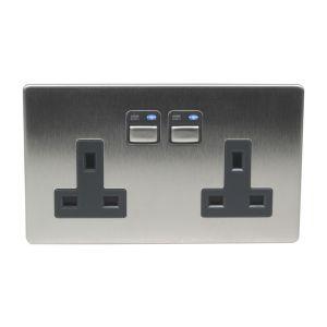 Image of LightwaveRF 13A Stainless steel Double Socket