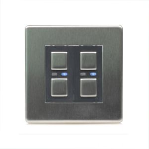 Image of LightwaveRF 2-Way Double Stainless steel Slave dimmer switch