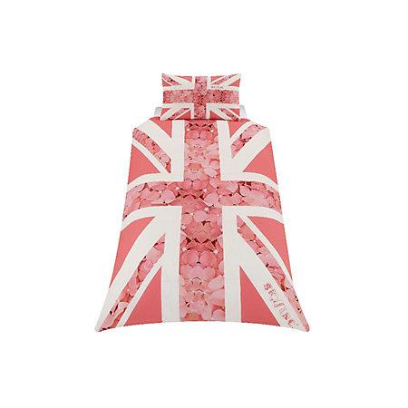Union jack flower pink single duvet set departments for Pink union jack bedding