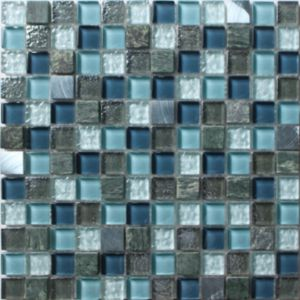 Image of Brixton Blue Stone effect Glass & marble Mosaic tile (L)300mm (W)300mm