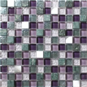 Image of Camden Purple Stone effect Glass & marble Mosaic tile (L)300mm (W)300mm