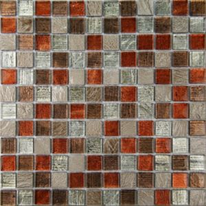 Image of Bangkok Multicolour Stone effect Glass & marble Mosaic tile (L)300mm (W)300mm