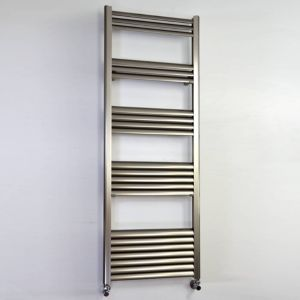 Image of Accuro Korle Champagne Silver Towel warmer (H)1400mm (W)500mm