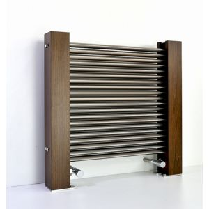 Excel Horizontal Designer Radiator Brushed Aluminium (H)600 mm (W)600 mm