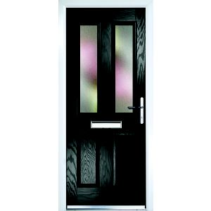 Image of Composite Black PVCu & GRP Glazed External Front Door & Frame Lh (H)2055mm (W)920mm