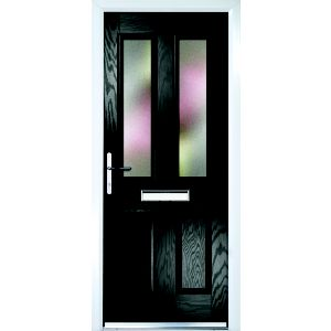 Image of Composite Black PVCu & GRP Glazed External Front Door & Frame Rh (H)2055mm (W)920mm