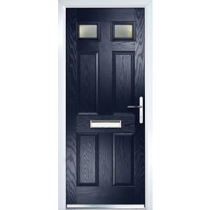 Image of Crystal 6 panel Frosted Glazed Navy blue Composite LH External Front Door set (H)2055mm (W)920mm